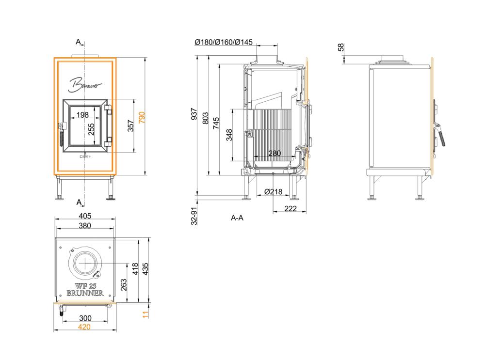 Brunner WF 25 Gussfrontplatte 790x420
