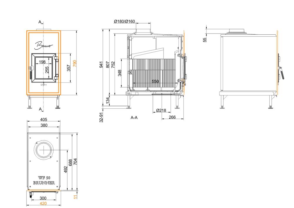 Brunner WF 50 Gussfrontplatte 790x420