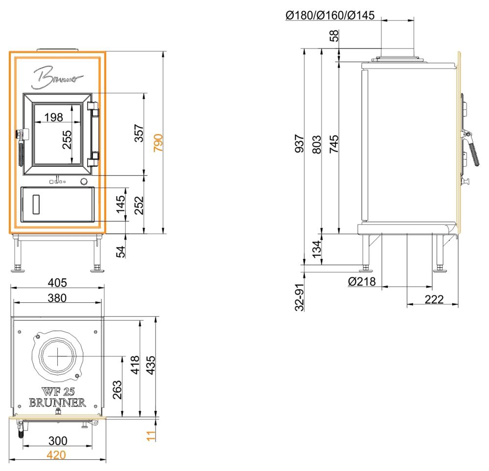 Brunner WFR 25 Gussfrontplatte 790x420