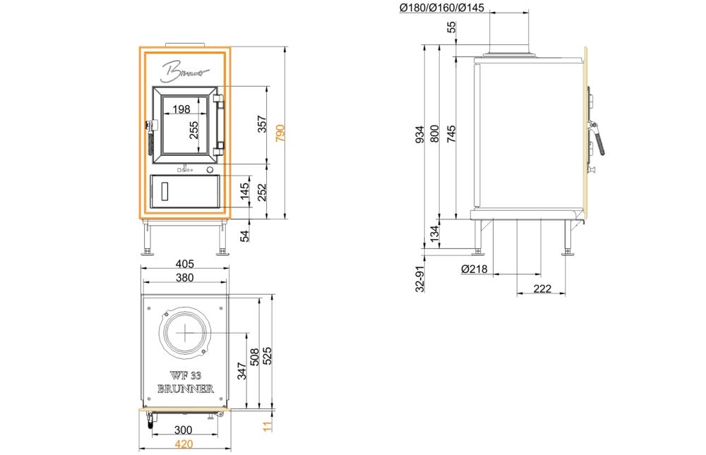Brunner WFR 33 Gussfrontplatte 790x420