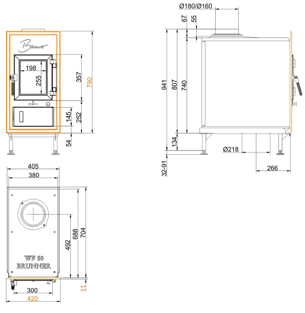 Brunner WFR 50 Gussfrontplatte 790x420